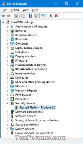 Nhìn xem bạn có Security devices được liệt kê không
