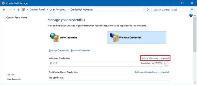 Nhấp vào tùy chọn Add a Windows credential