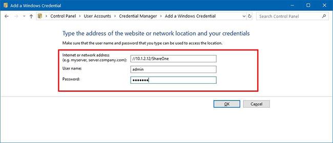 Chỉ định tên người dùng và mật khẩu để xác thực