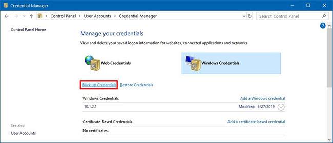 Nhấp vào tùy chọn Back up Credentials