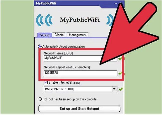 Chọn một tên mạng và mật khẩu
