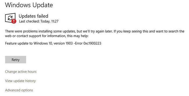Lỗi 0xc1900223 có thể xuất hiện khi bạn cố cập nhật cài đặt Windows 10
