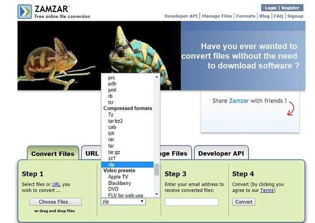 Có thể dùng Zamzar để tạo file RAR trực tuyến