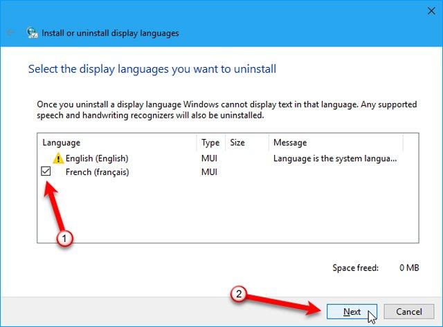 Chọn ngôn ngữ muốn gỡ bỏ