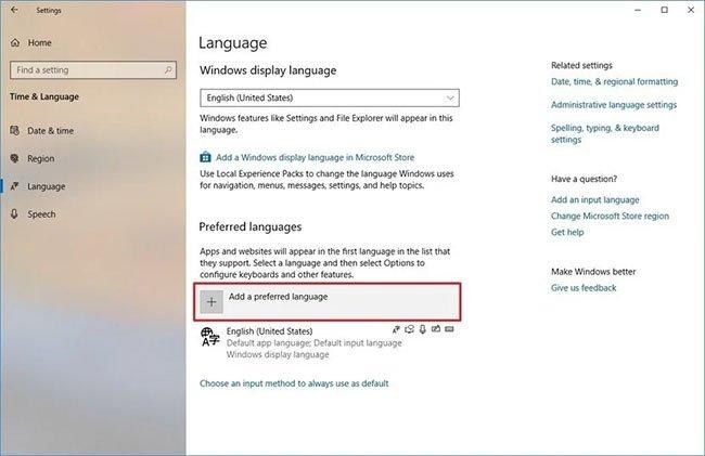 Nhấp vào nút Add a preferred language