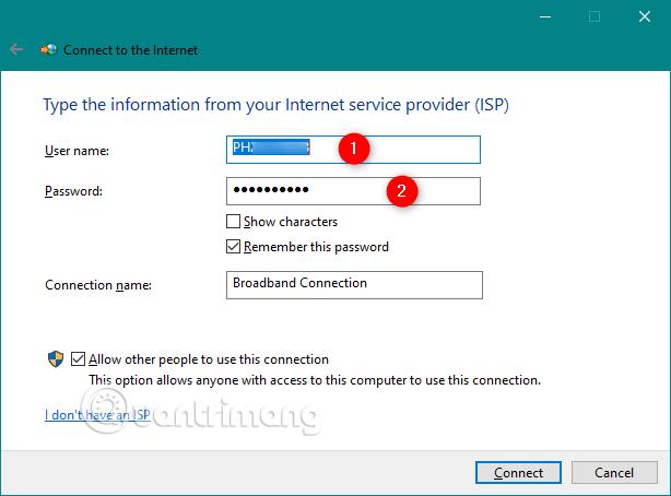 Gõ tên người dùng và mật khẩu