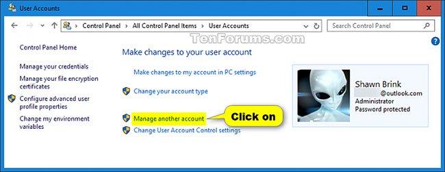 Nhấp vào liên kết Manage another account