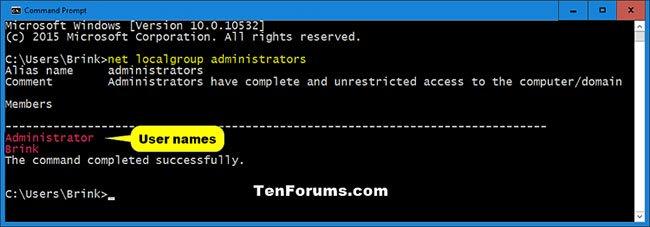 Xác định loại tài khoản của người dùng trong Command Prompt