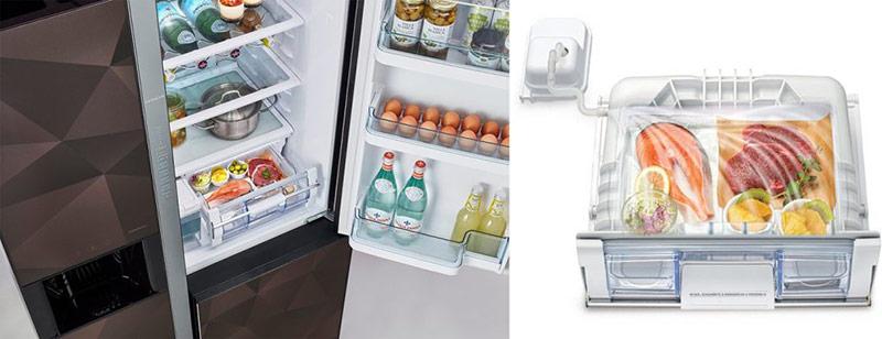 Các ngăn bên trong tủ lạnh.