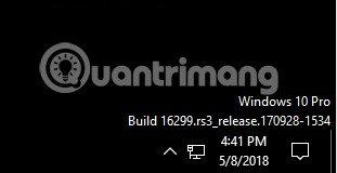 Hiển thị phiên bản Windows trên màn hình desktop
