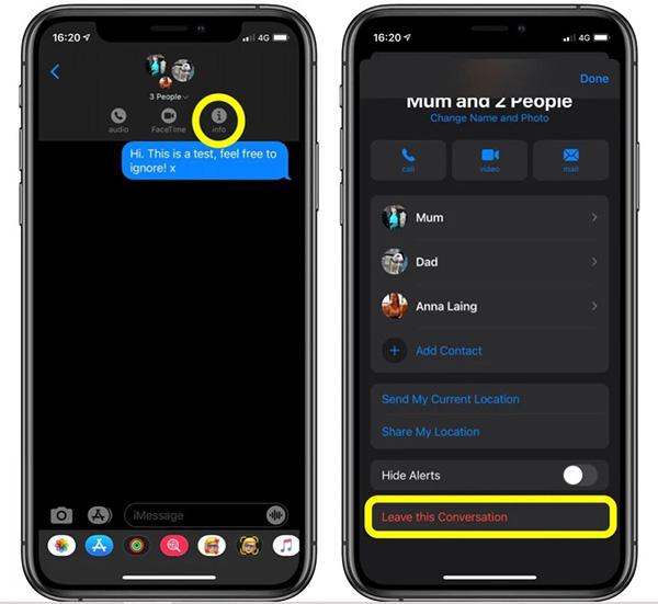 Cách thoát group chat trên iOS 14