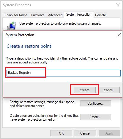 Điền tên cho Restore Point cần tạo vào click vào Create
