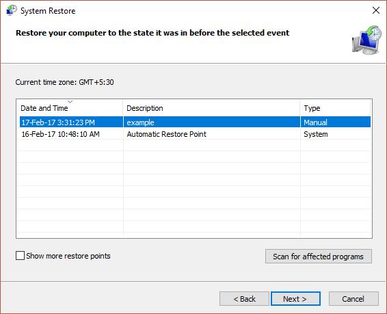 Chọn restore point vừa tạo để khôi phục Registry