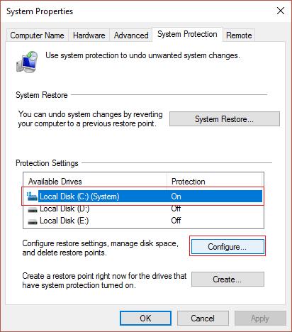 Chọn ổ đĩa cài đặt Windows và click vào Configure