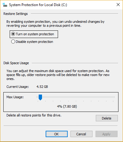 Cài đặt System Protection for Local Disk (C:)