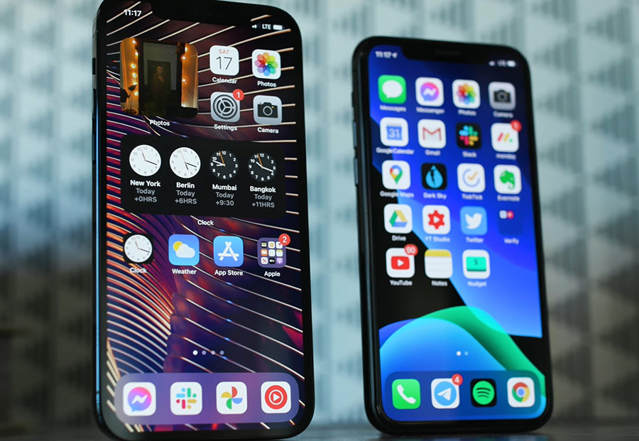 iPhone 12 Pro (trái) và iPhone 11 Pro (phải).