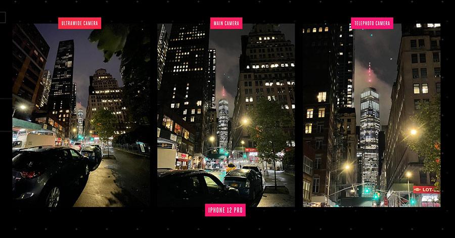Khả năng chụp đêm của ống kính góc rộng, chính và telephoto lần lượt từ trái sang phải.
