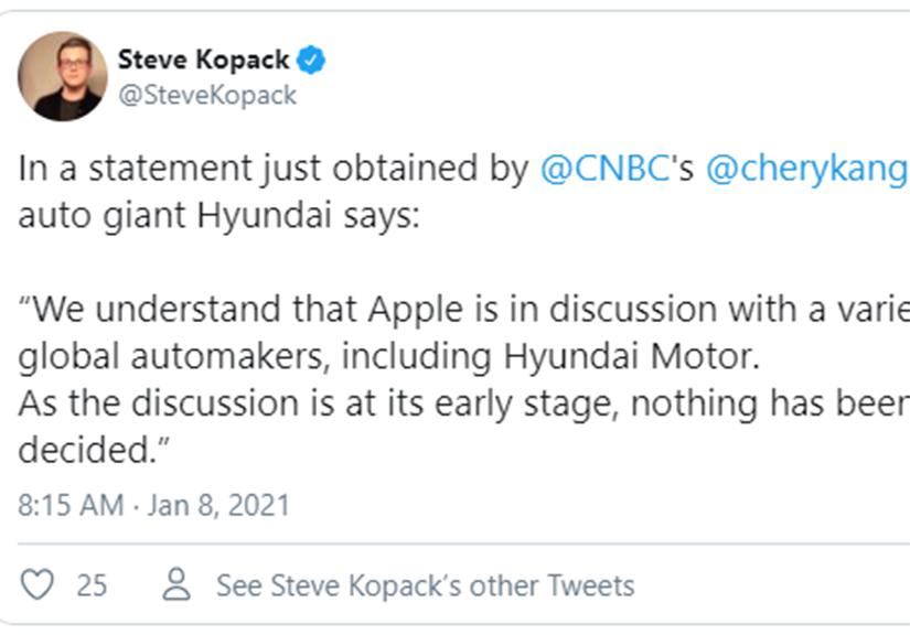 Hyundai xác nhận đang đàm phán để sản xuất ô tô cho Apple
