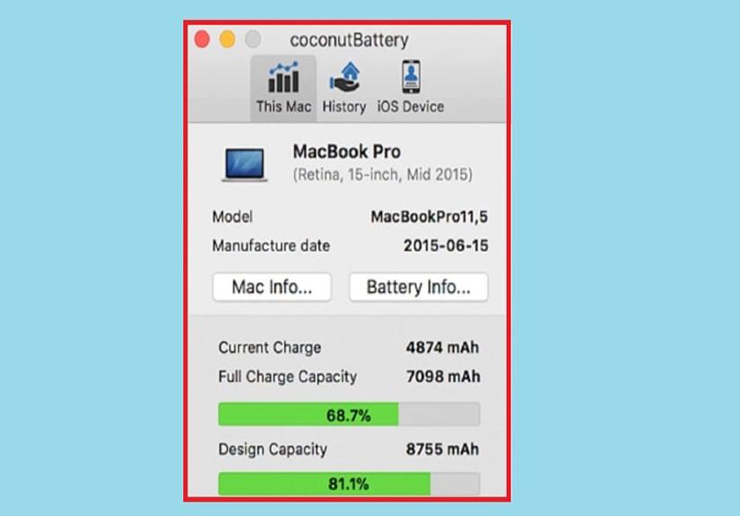 Cách kiểm tra độ chai pin, kiểm tra số lần sạc Macbook